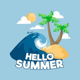 Bonjour l'été dessiné à la main avec l'île et la vague