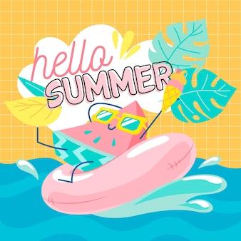 Bonjour l'été dessiné à la main avec de la pastèque et de l'eau