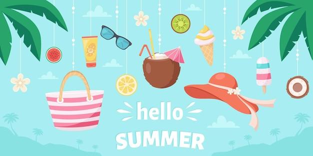 Bonjour l'été éléments d'été chapeau de plage pina colada lunettes de soleil crème solaire crème glacée