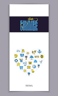 Bonjour l'été et ensemble d'icônes colorées de l'été