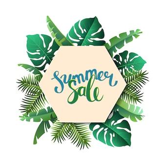Bonjour l'été, l'été. l'affiche de texte dans le contexte des plantes tropicales. l'affiche à vendre et un panneau publicitaire