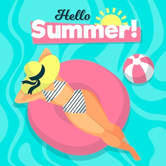 Bonjour l'été avec une femme à la piscine