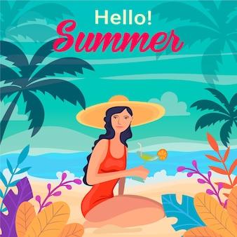 Bonjour l'été avec femme sur la plage