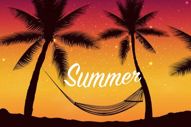 Bonjour été. fond d'été tropical avec palmiers, ciel et coucher de soleil. carte d'invitation de flyer affiche affiche d'été. heure d'été. illustration colorée pour bannières, fonds d'écran, flyers.