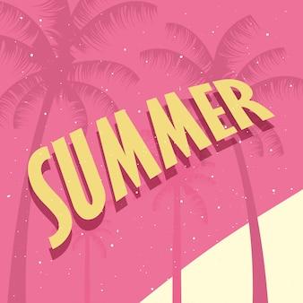 Bonjour l'été fond rose palmiers