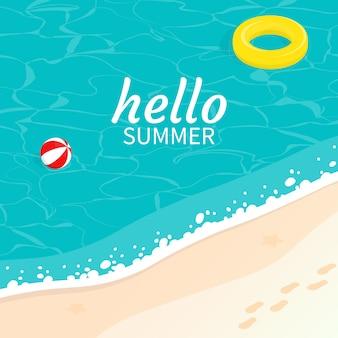 Bonjour été isométrique mer sable plage vague