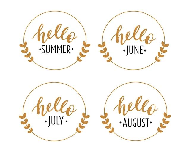 Bonjour été juin juillet août lettrage dessiné à la main