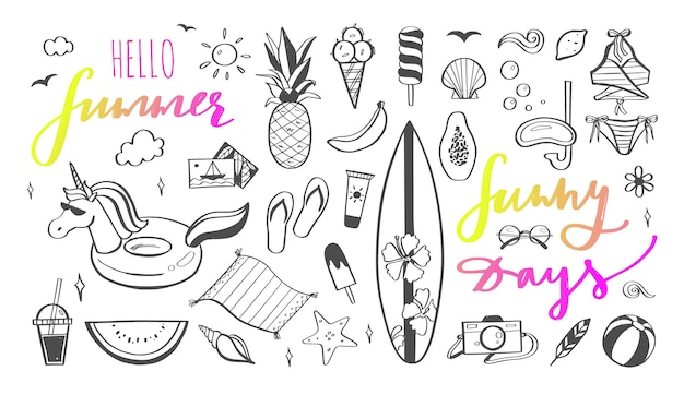 Bonjour été lettrage dessiné à la main avec des éléments de fête de plage