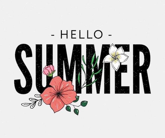 Bonjour l'été lettrage avec illustration de fleurs tropicales