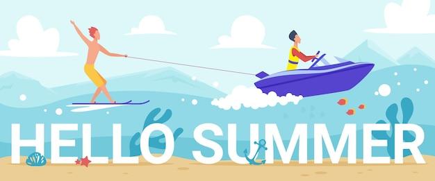 Bonjour été lettrage personnes ski nautique dans les vagues de la mer tropicale équitation ski nautique