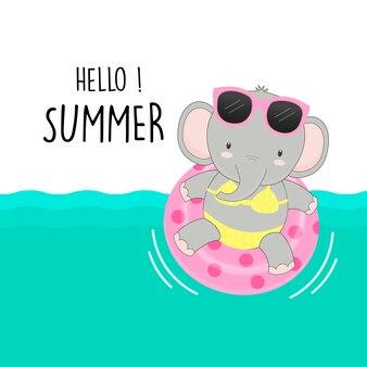 Bonjour l'été mignon éléphant ont été bikini et bande dessinée anneau de bain.