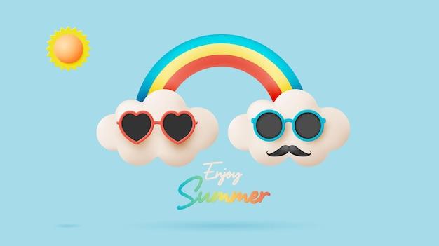 Bonjour l'été avec mignon ensoleillé et nuage