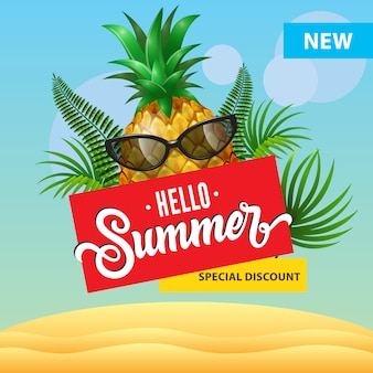 Bonjour l'été, nouvelle affiche de réduction spéciale avec ananas de bande dessinée dans des lunettes de soleil, feuilles de palmier