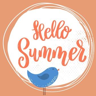 Bonjour été. phrase de lettrage sur fond avec décoration de fleurs. élément pour affiche, bannière, carte. illustration