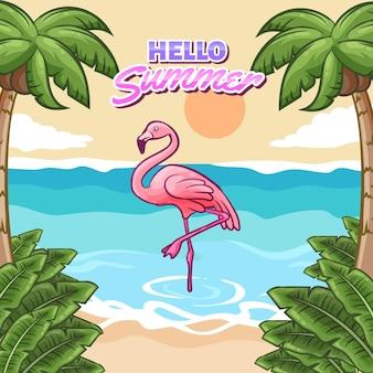 Bonjour l'été avec plage et flamant rose