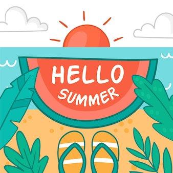 Bonjour L'été Avec Plage Et Tongs Vecteur gratuit