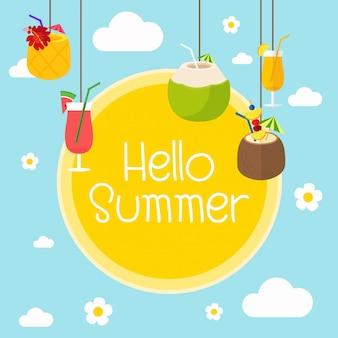 Bonjour été. saison des cocktails de fruits d'été