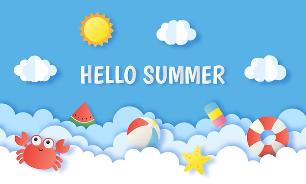 Bonjour l'été sur le style art papier ciel bleu