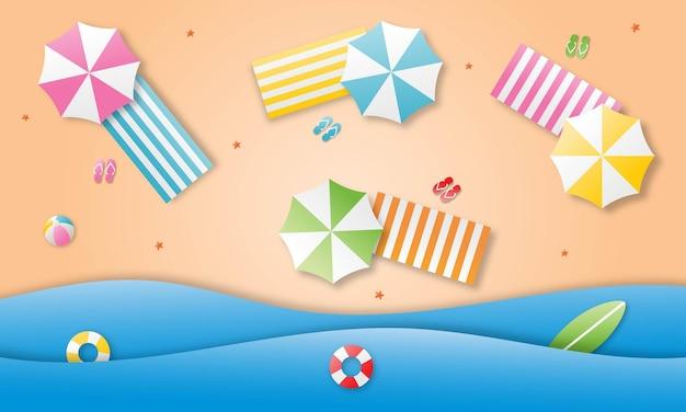 Bonjour l'été avec le style d'art de papier de fond de paysage de plage