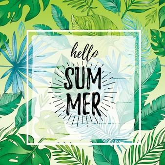 Bonjour l'été avec texte, modèle sans couture de feuille tropique.