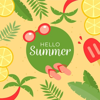 Bonjour L'été Avec Des Tranches De Citrons Et Des Palmiers Vecteur gratuit