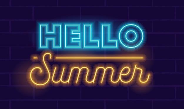 Bonjour l'été typographie lumineuse néon réaliste très détaillée sur fond bleu foncé.