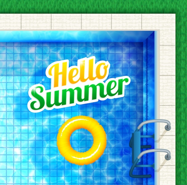 Bonjour été. vue sur la piscine d'en haut avec texte et anneau en caoutchouc.