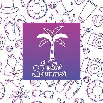 Bonjour étiquette d'été avec une image colorée