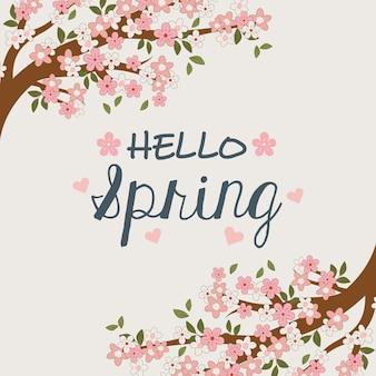 Bonjour étiquette de printemps avec une branche d'arbre et des fleurs