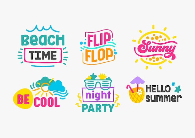Bonjour les étiquettes et badges de vacances d'été avec jeu de typographie. modèles pour la conception de cartes de voeux, d'affiches et de t-shirts. temps de plage, bascule, ensoleillé, être cool, soirée, illustration de vecteur de dessin animé