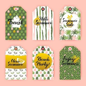 Bonjour étiquettes cadeaux d'été. illustration vectorielle de la conception d'étiquettes de magasin de style des années 80 avec lettrage manuscrit.