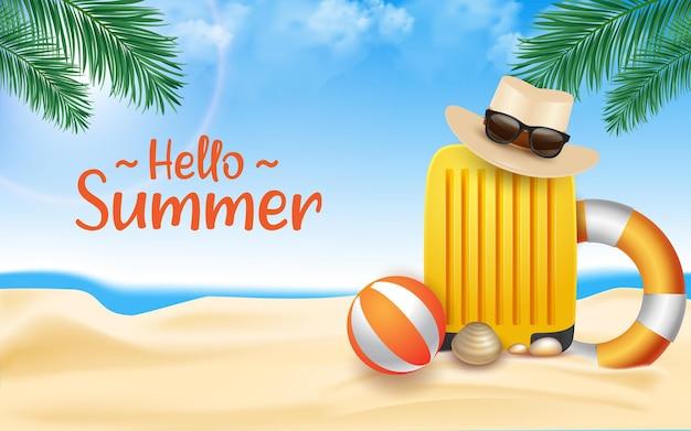 Bonjour les flotteurs de plage d'été avec bonjour le texte d'été et la plage