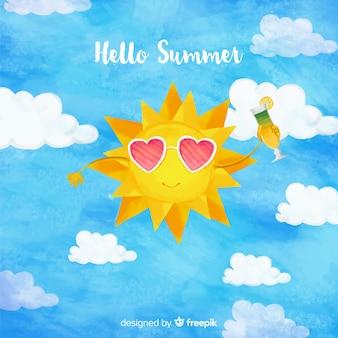 Bonjour fond d'aquarelle d'été