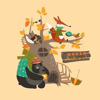 Bonjour fond d'automne avec des animaux mignons