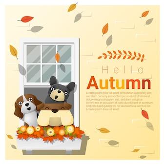 Bonjour fond d'automne avec des chiens