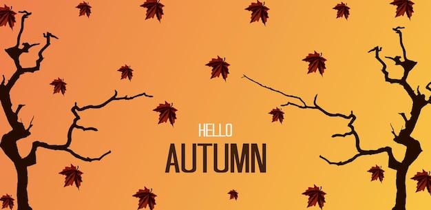 Bonjour fond d'automne avec des feuilles d'arbre et d'automne meilleure couleur vecteur premium