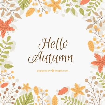 Bonjour fond d'automne avec lettrage et feuilles