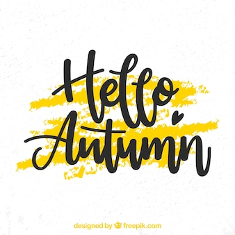 Bonjour fond d'automne avec lettrage