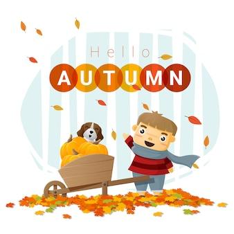 Bonjour fond d'automne avec petit garçon