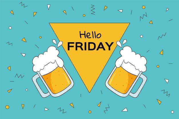 Bonjour fond coloré de vendredi avec des bières