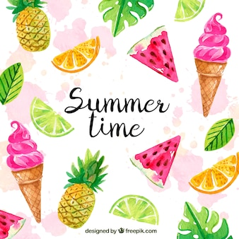 Bonjour fond d'été avec des glaces et des fruits dans un style aquarelle