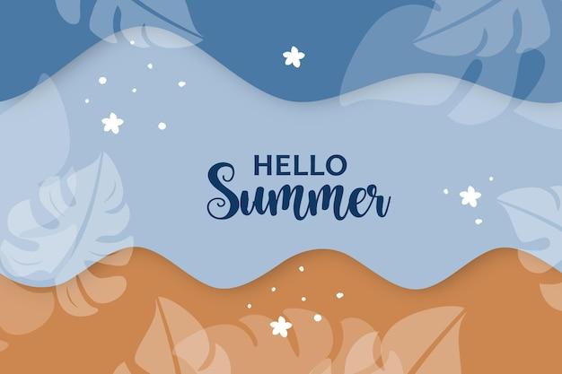 Bonjour fond d'été dans la conception de style papier