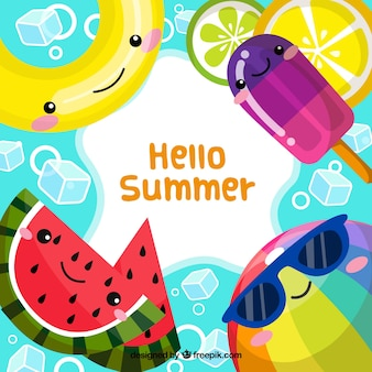 Bonjour fond d'été avec des dessins animés mignons