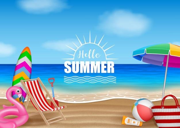 Bonjour fond d'été avec des éléments de plage sur la mer