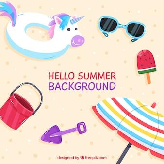 Bonjour fond d'été avec des éléments de plage