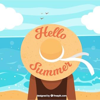 Bonjour fond d'été avec une fille qui regarde la mer
