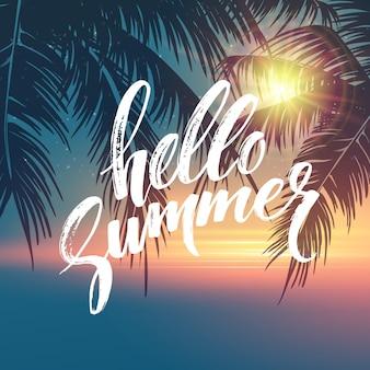 Bonjour fond d'été. motif de feuilles de palmier tropical, lettrage d'écriture.