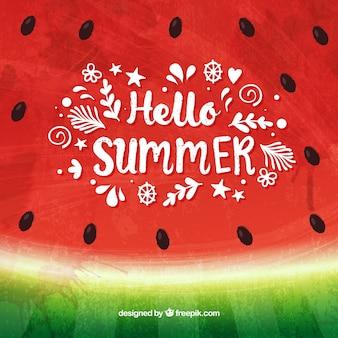 Bonjour fond d'été avec une pastèque savoureuse