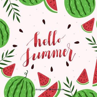 Bonjour fond d'été avec des pastèques délicieuses et fraîches