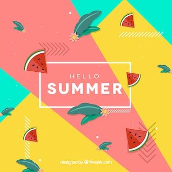 Bonjour fond d'été avec des pastèques